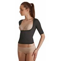 Mikromasažiniai marškinėliai atvira krūtine Silver Wave Top juoda S M / kūno S M