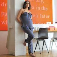 Melsvas pižamos komplektas nėštukei - maitinančiai DELICIOUS