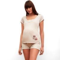 Smėliniai pižaminiai marškinėliai nėštukei - maitinančiai JOY