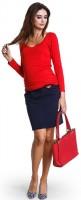 Stilingas minkštos medvilnės sijonas nėščiai ir po nėštumo MARINA NAVY