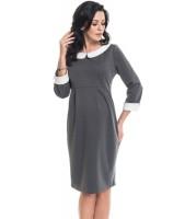 Stilinga šilta suknelė nėštukei ZOE pilka, juoda