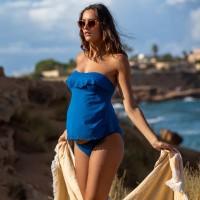 Tankini maudymosi kostiumėlis nėštukei BLOOM Blue (UPF 50+ UV apsauga)