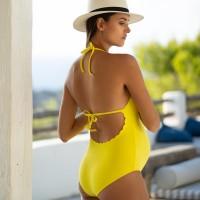 Vientisas maudymosi kostiumėlis nėštukei su pakietinimu KYOTO Yellow / Prancūzija