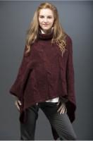 Universalus megztinis su angoros vilna PONCHO cherry