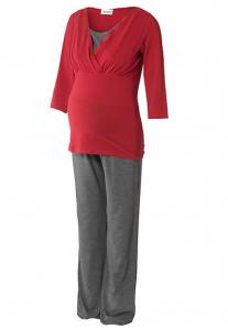 Medvilninė pižama nėščiai - maitinančiai WELLNESS RED
