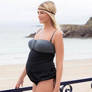 Tankini maudymosi kostiumėlis nėščiai ir maitinančiai pakietintais kaušeliais EDEN BLACK