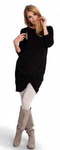 Stilinga medvilninė tunika - suknelė nėščiai ir maitinančiai TWIST ME black