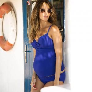 Tankini maudymosi kostiumėlis nėštukei SIXTIES BLUE 38 E-F kaušeliai (UPF 50+ UV apsauga)