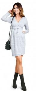 Stilinga šilta suknelė nėštukei ir maitinančiai CASHMERE Grey