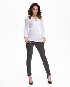 Klasikinės 7/8 ilgio kelnės su kantu dirbančiai nėštukei FEROX Graphite