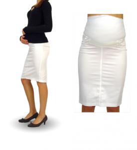 Pieštuko silueto sijonas nėščiai GLAM balta, smėlinė